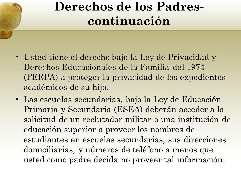 Derechos de los Padres- continuación Usted tiene el derecho bajo la Ley de Privacidad y Derechos Educacionales de la Familia del 1974 (FERPA) a proteg