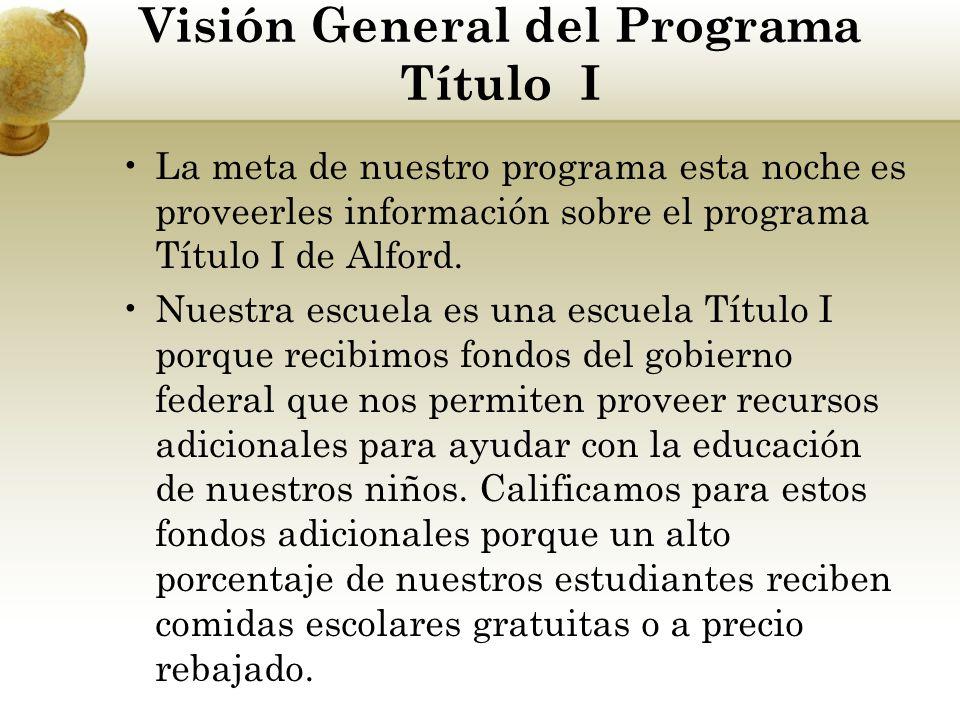 Visión General del Programa Título I La meta de nuestro programa esta noche es proveerles información sobre el programa Título I de Alford. Nuestra es