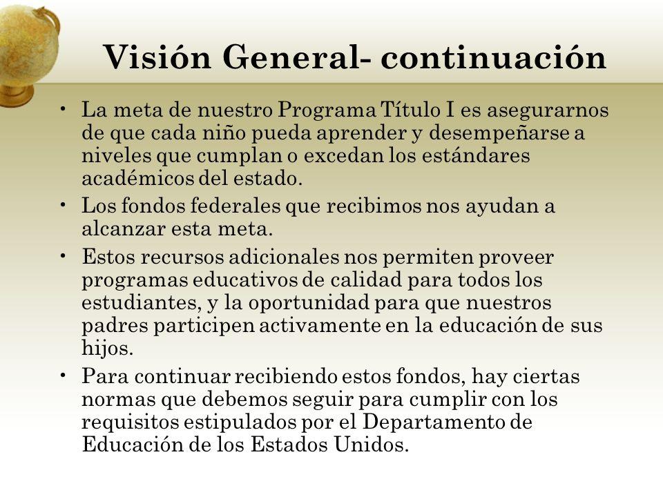 Visión General- continuación La meta de nuestro Programa Título I es asegurarnos de que cada niño pueda aprender y desempeñarse a niveles que cumplan o excedan los estándares académicos del estado.