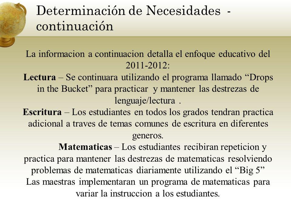 Determinación de Necesidades - continuación La informacion a continuacion detalla el enfoque educativo del 2011-2012: Lectura – Se continuara utilizan