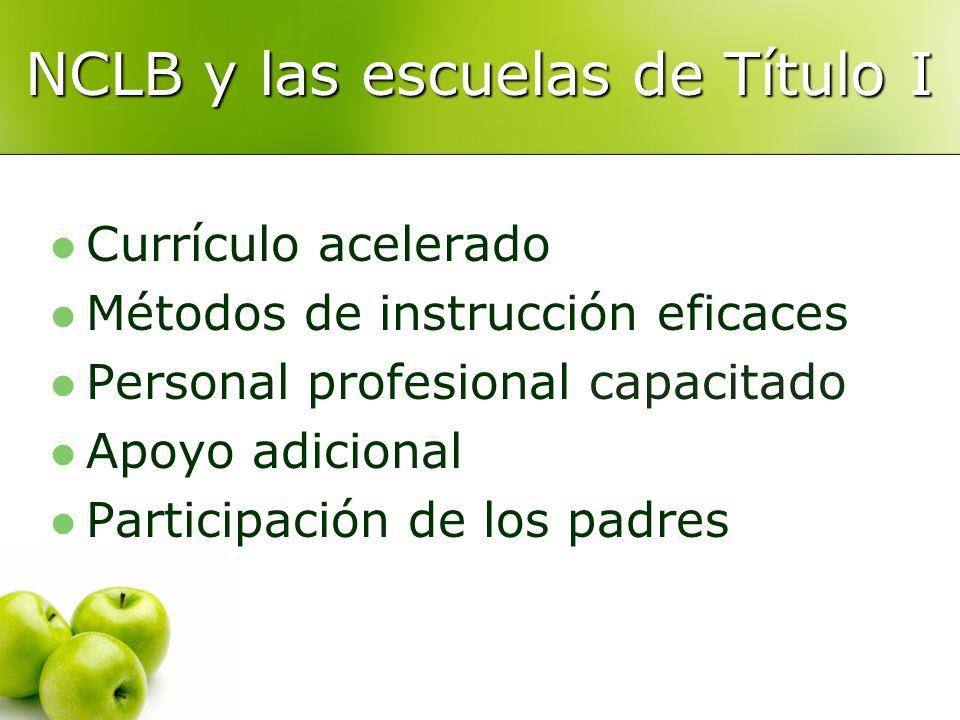 NCLB y las escuelas de Título I Currículo acelerado Métodos de instrucción eficaces Personal profesional capacitado Apoyo adicional Participación de los padres