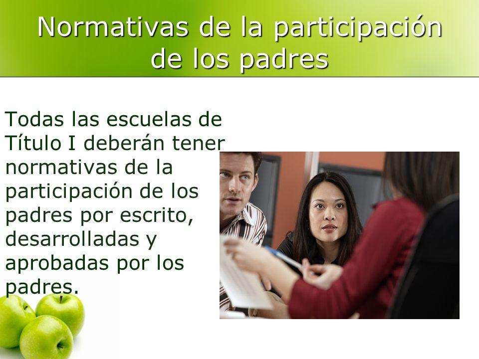 Todas las escuelas de Título I deberán tener normativas de la participación de los padres por escrito, desarrolladas y aprobadas por los padres.