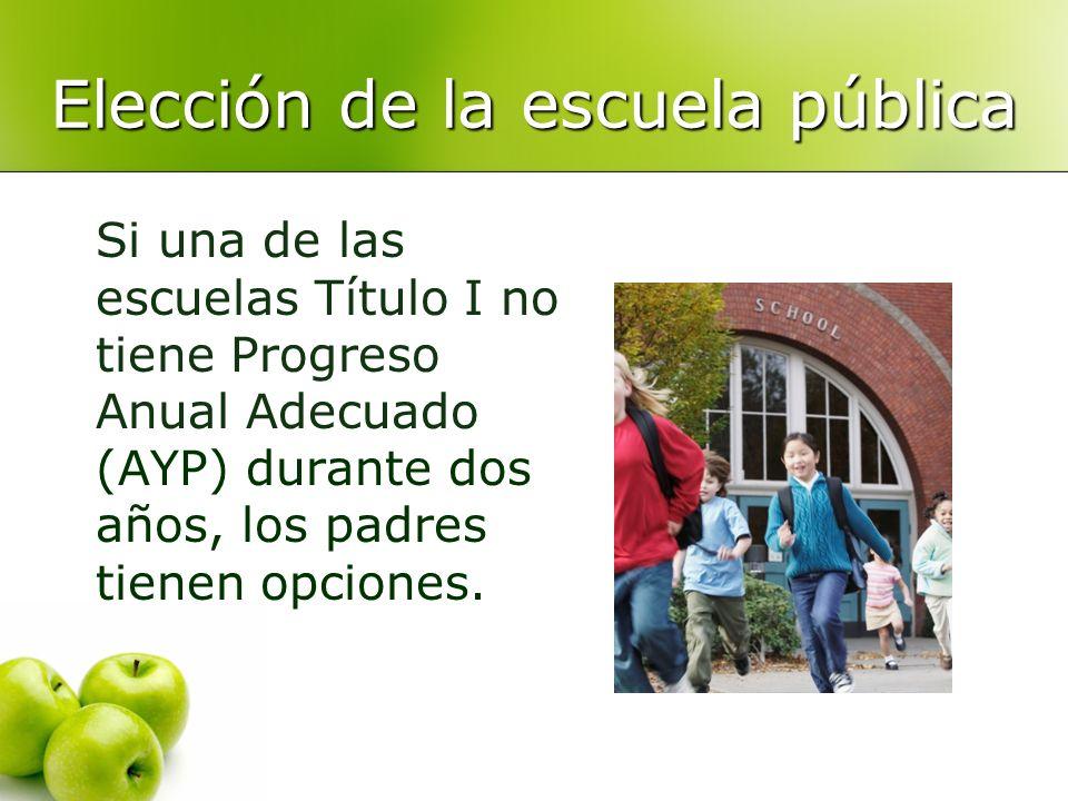 Elección de la escuela pública Si una de las escuelas Título I no tiene Progreso Anual Adecuado (AYP) durante dos años, los padres tienen opciones.