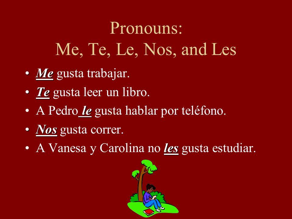 Pronouns: Me, Te, Le, Nos, and Les MeMe gusta trabajar.