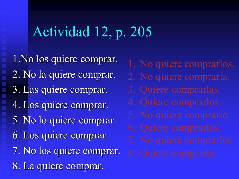 Actividad 12, p. 205 Lo que Enrique quiere… Ejemplo: No le gustan los zapatos anaranjados.