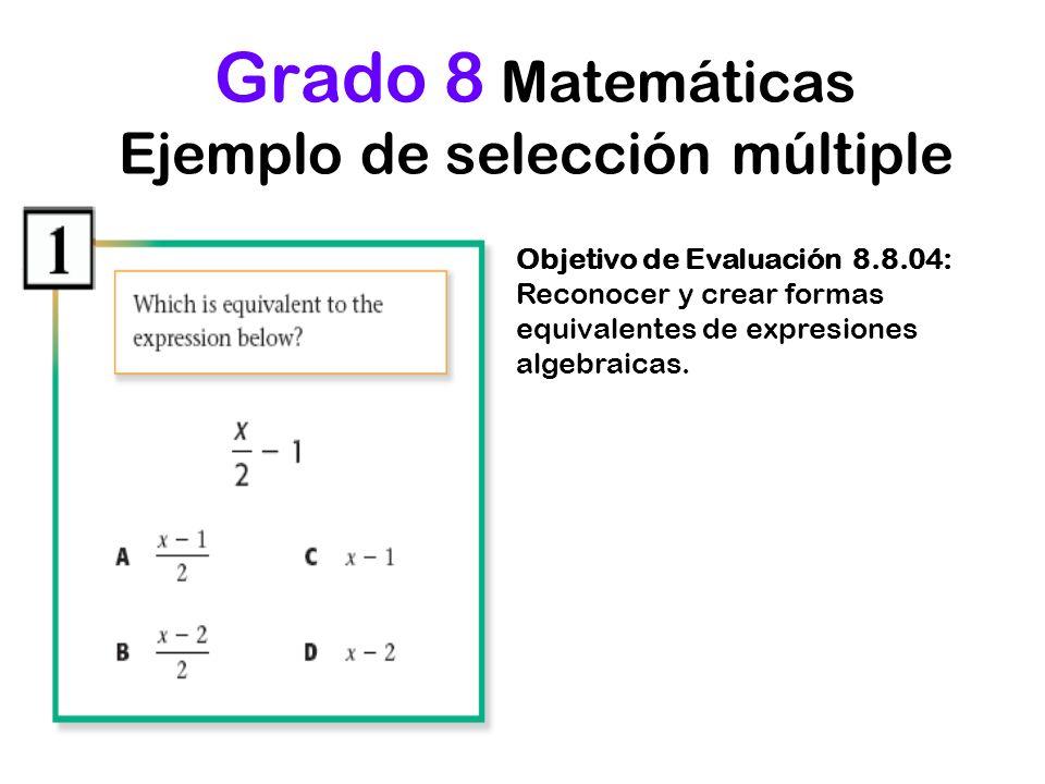 Grado 8 Matemáticas Ejemplo de selección múltiple Objetivo de Evaluación 8.8.04: Reconocer y crear formas equivalentes de expresiones algebraicas.