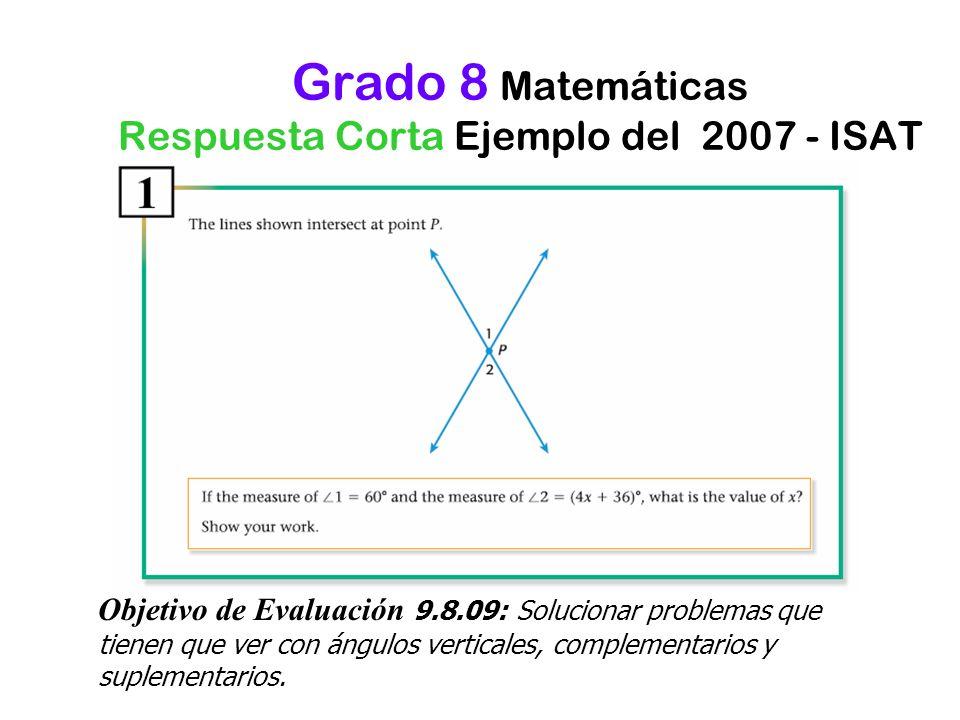 Grado 8 Matemáticas Respuesta Corta Ejemplo del 2007 - ISAT Objetivo de Evaluación 9.8.09: Solucionar problemas que tienen que ver con ángulos vertica