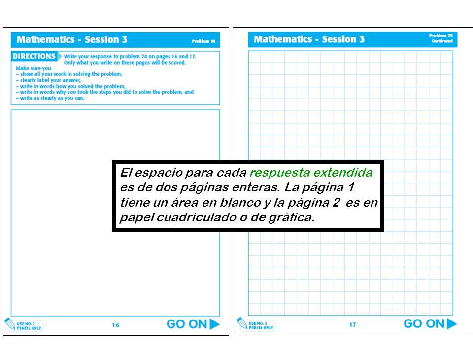 El espacio para cada respuesta extendida es de dos páginas enteras. La página 1 tiene un área en blanco y la página 2 es en papel cuadriculado o de gr