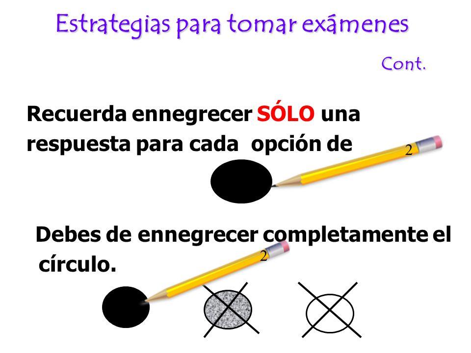 Estrategias para tomar exámenes Cont. Recuerda ennegrecer SÓLO una respuesta para cada opción de Debes de ennegrecer completamente el círculo. 2 2