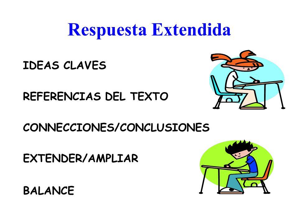 Respuesta Extendida IDEAS CLAVES REFERENCIAS DEL TEXTO CONNECCIONES/CONCLUSIONES EXTENDER/AMPLIAR BALANCE