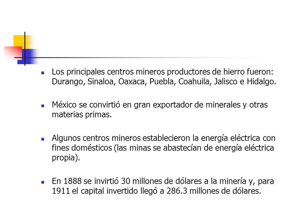 Los principales centros mineros productores de hierro fueron: Durango, Sinaloa, Oaxaca, Puebla, Coahuila, Jalisco e Hidalgo. México se convirtió en gr