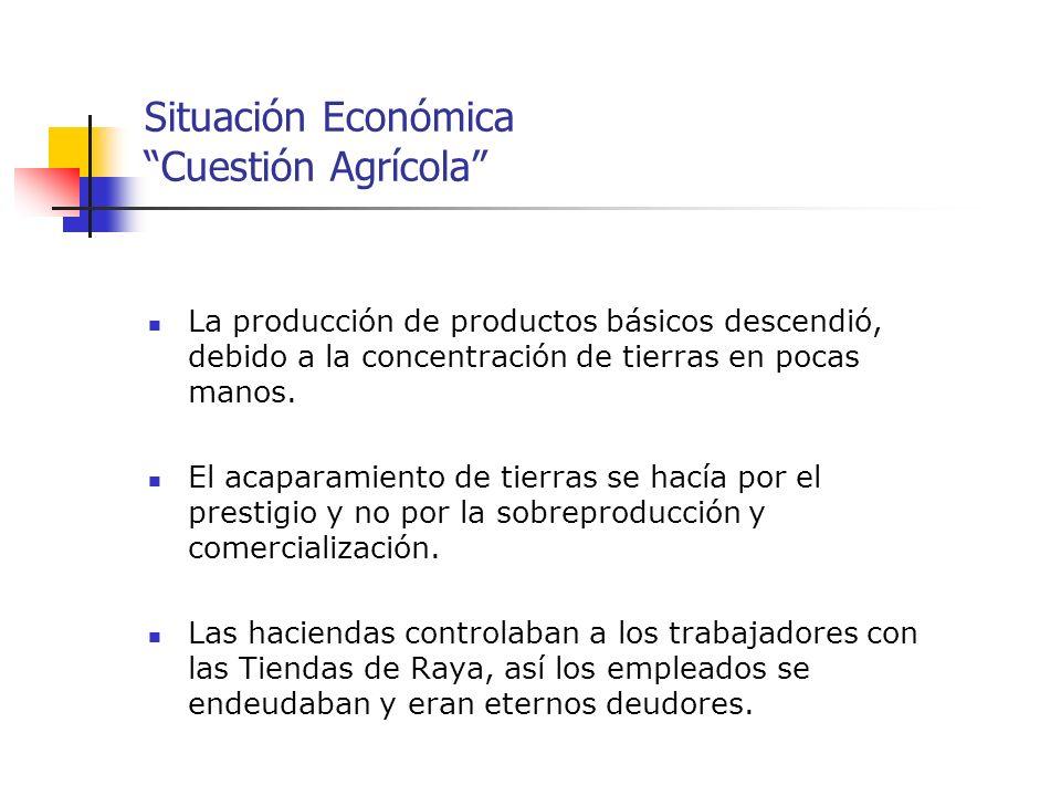Situación Económica Cuestión Agrícola La producción de productos básicos descendió, debido a la concentración de tierras en pocas manos. El acaparamie