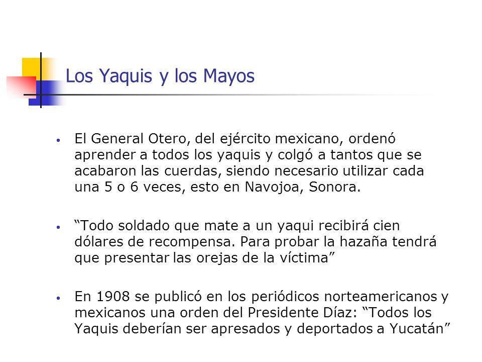 Los Yaquis y los Mayos El General Otero, del ejército mexicano, ordenó aprender a todos los yaquis y colgó a tantos que se acabaron las cuerdas, siend