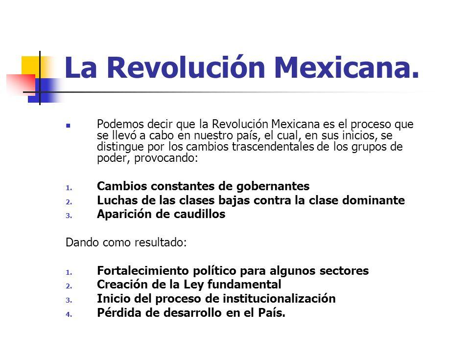 La Revolución Mexicana. Podemos decir que la Revolución Mexicana es el proceso que se llevó a cabo en nuestro país, el cual, en sus inicios, se distin