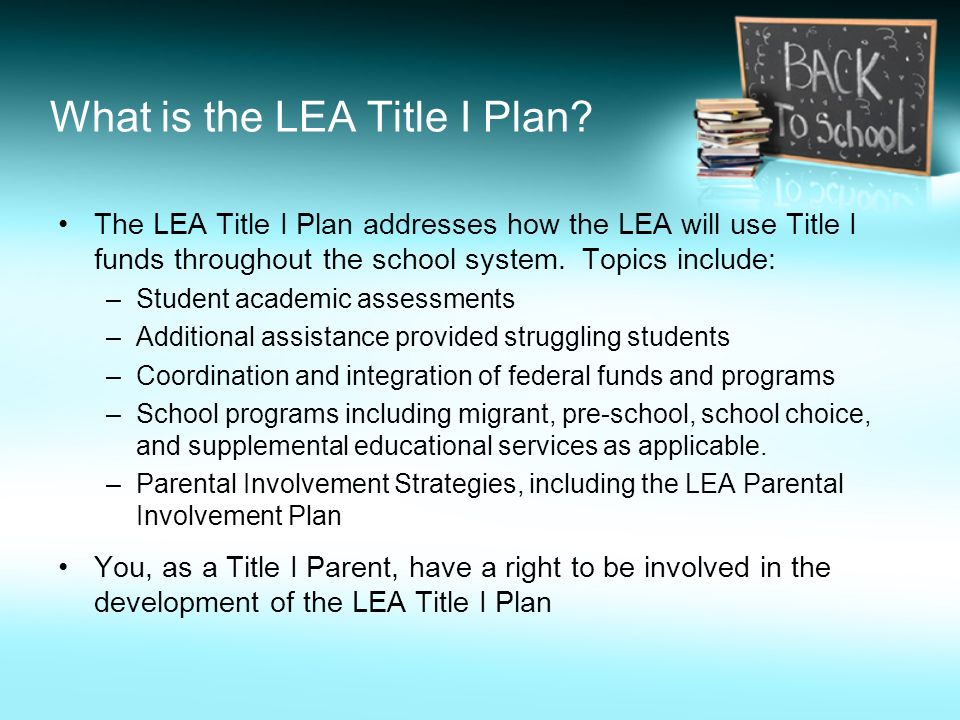 What is the LEA Title I Plan.