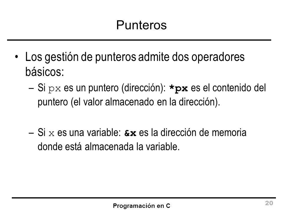 Programación en C 20 Punteros Los gestión de punteros admite dos operadores básicos: –Si px es un puntero (dirección): *px es el contenido del puntero