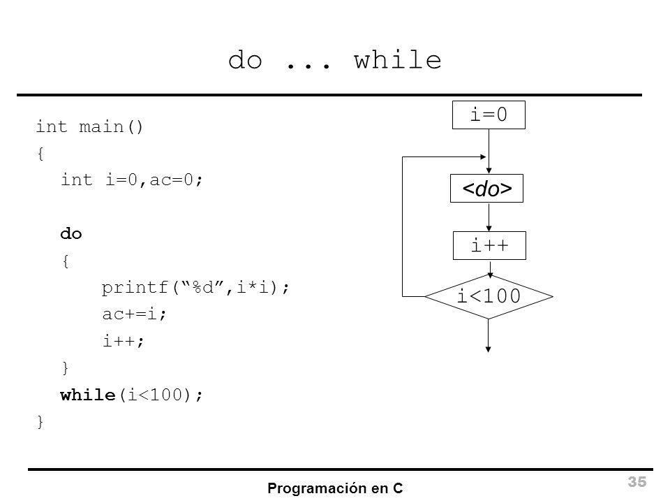 Programación en C 35 do... while int main() { int i=0,ac=0; do { printf(%d,i*i); ac+=i; i++; } while(i<100); } i<100 i=0 i++