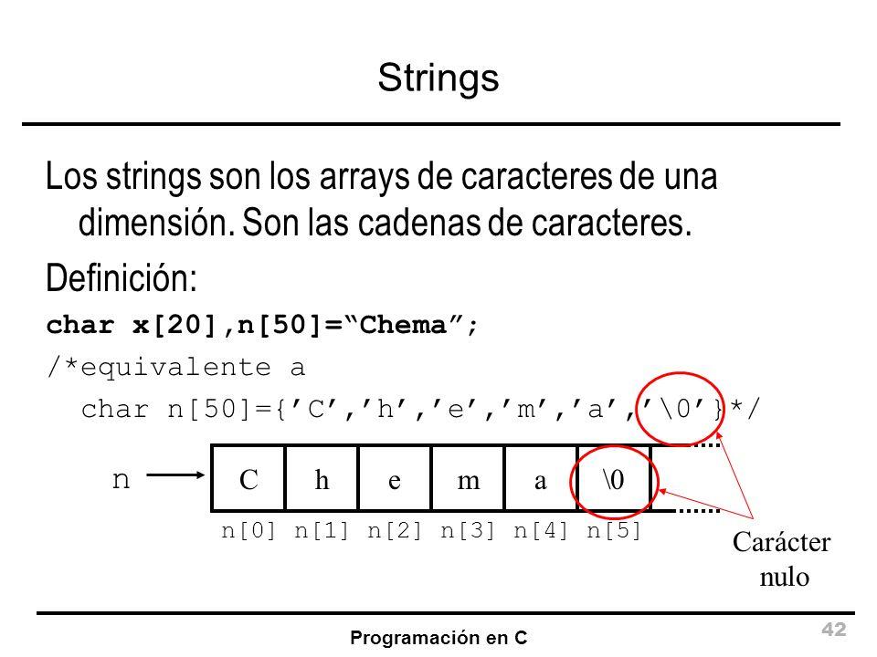 Programación en C 42 Strings Los strings son los arrays de caracteres de una dimensión. Son las cadenas de caracteres. Definición: char x[20],n[50]=Ch