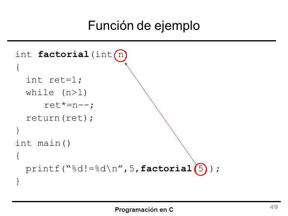 Programación en C 49 Función de ejemplo int factorial(int n) { int ret=1; while (n>1) ret*=n--; return(ret); } int main() { printf(%d!=%d\n,5,factoria