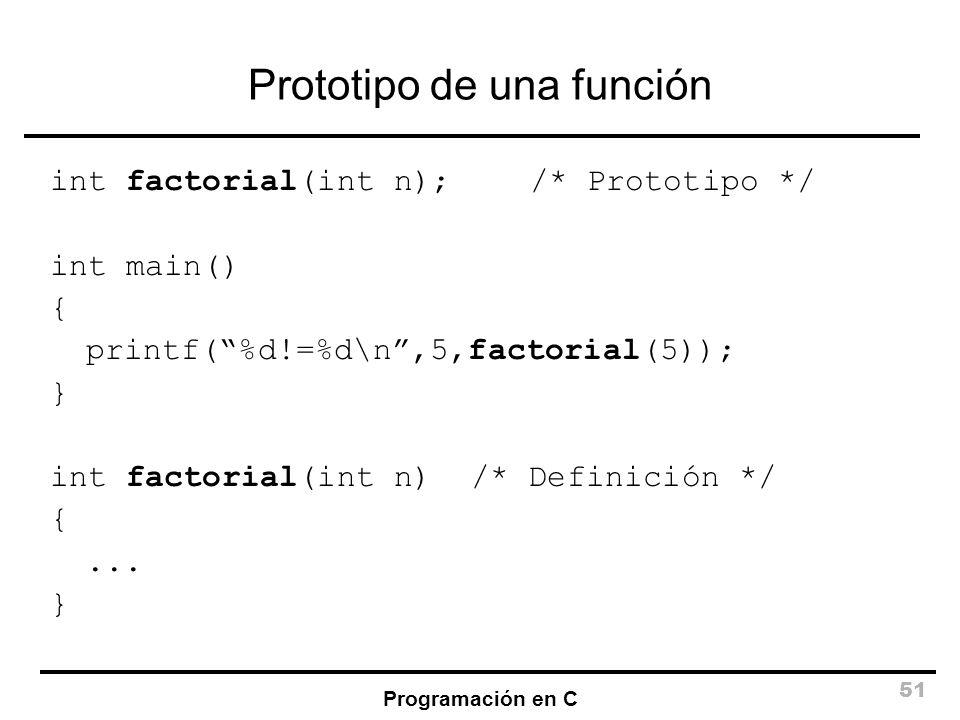 Programación en C 51 Prototipo de una función int factorial(int n);/* Prototipo */ int main() { printf(%d!=%d\n,5,factorial(5)); } int factorial(int n