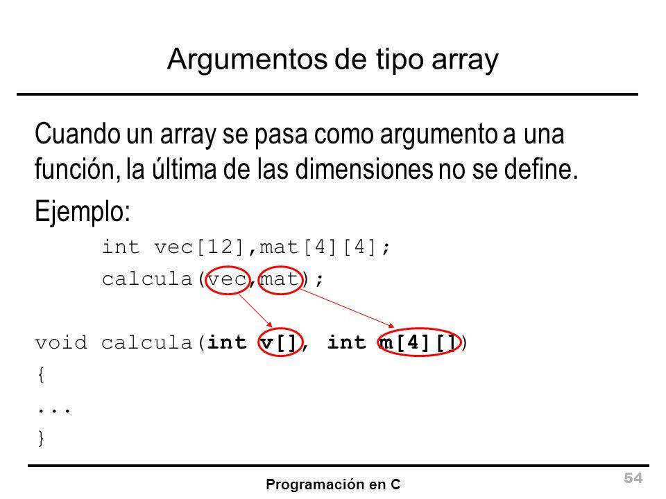 Programación en C 54 Argumentos de tipo array Cuando un array se pasa como argumento a una función, la última de las dimensiones no se define. Ejemplo
