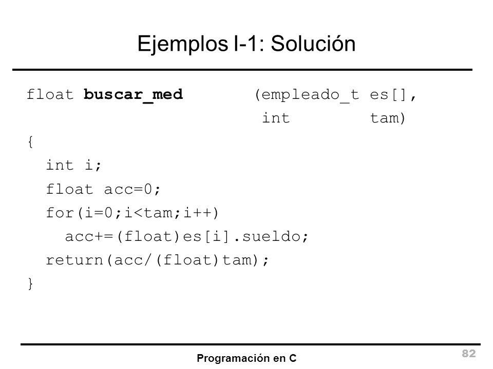 Programación en C 82 Ejemplos I-1: Solución float buscar_med (empleado_t es[], int tam) { int i; float acc=0; for(i=0;i<tam;i++) acc+=(float)es[i].sue