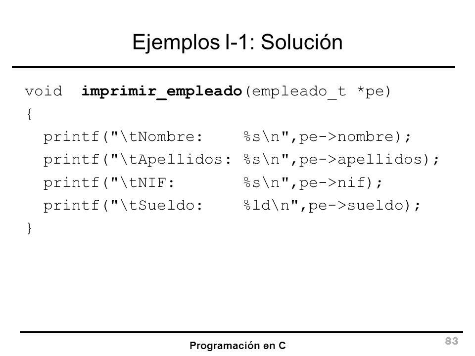 Programación en C 83 Ejemplos I-1: Solución void imprimir_empleado(empleado_t *pe) { printf(
