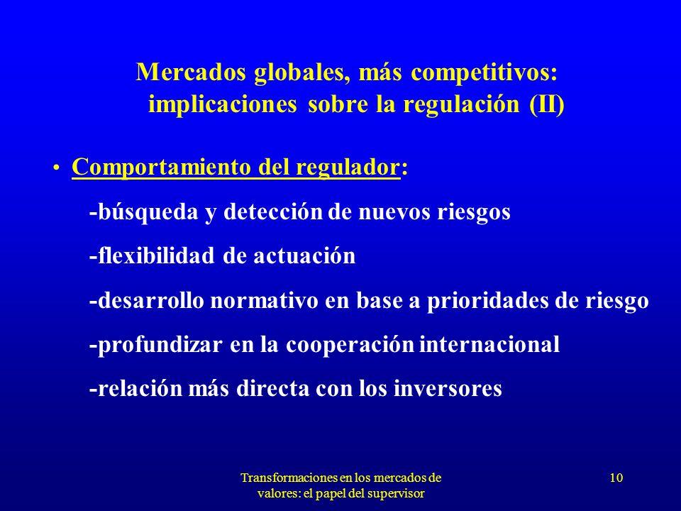 Transformaciones en los mercados de valores: el papel del supervisor 9 Mercados globales, más competitivos: implicaciones sobre la regulación (I) Mantenimiento de los objetivos de la supervisión: -protección del inversor -control prudencial de instituciones y mercados -transparencia y confianza en el mercado -evitar riesgos sistémicos