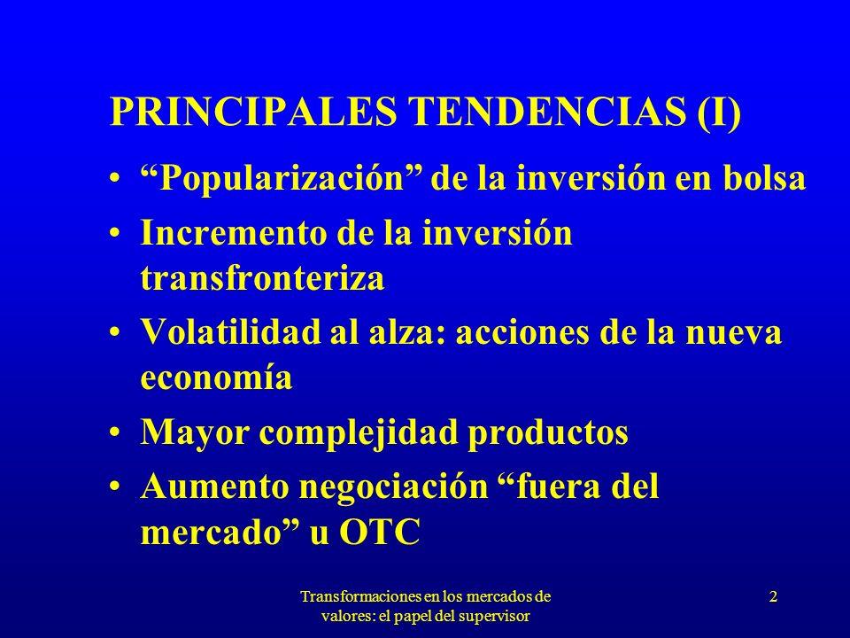 Transformaciones en los mercados de valores: el papel del supervisor 2 PRINCIPALES TENDENCIAS (I) Popularización de la inversión en bolsa Incremento de la inversión transfronteriza Volatilidad al alza: acciones de la nueva economía Mayor complejidad productos Aumento negociación fuera del mercado u OTC