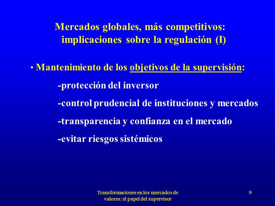 Transformaciones en los mercados de valores: el papel del supervisor 8 ¿HACIA UN MERCADO FINANCIERO ÚNICO