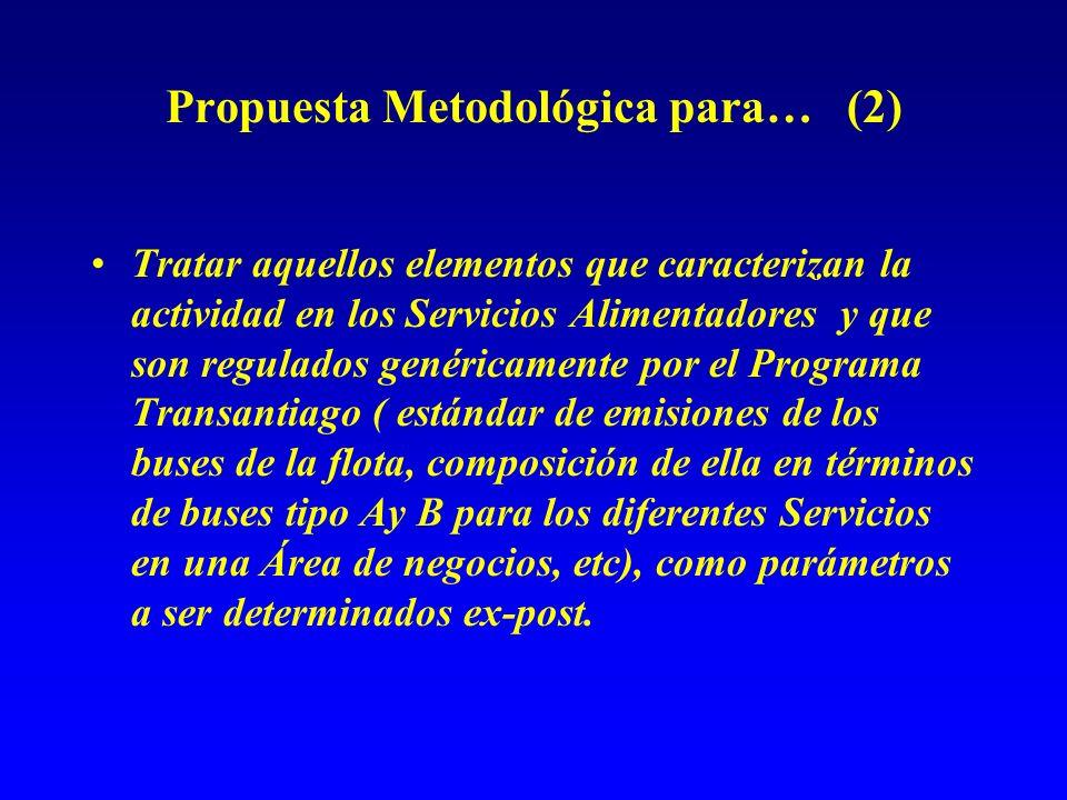 Propuesta Metodológica para… (2) Tratar aquellos elementos que caracterizan la actividad en los Servicios Alimentadores y que son regulados genéricame