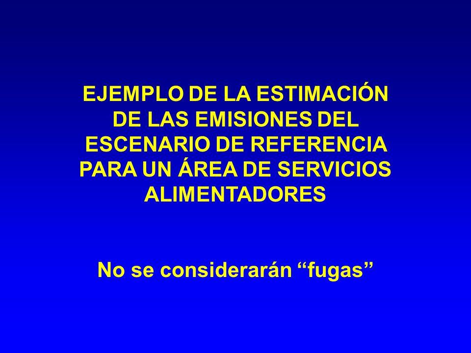 EJEMPLO DE LA ESTIMACIÓN DE LAS EMISIONES DEL ESCENARIO DE REFERENCIA PARA UN ÁREA DE SERVICIOS ALIMENTADORES No se considerarán fugas