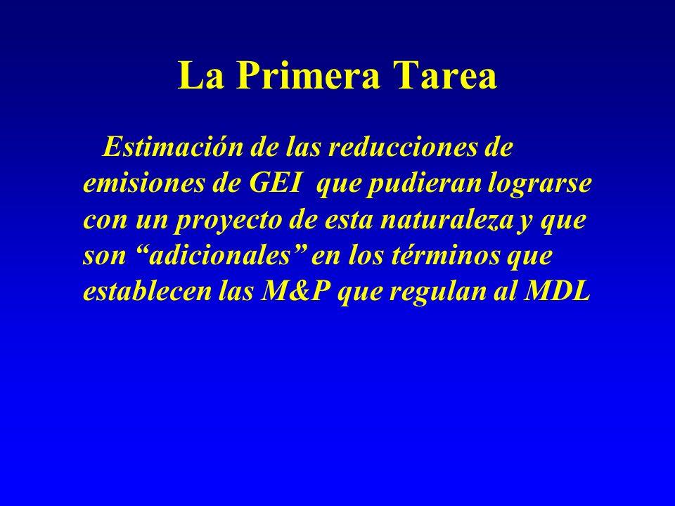 La Adicionalidad según las M&P del MDL adicional Una actividad de proyecto es adicional, si las emisiones de GEI de orígen antropogénico se reducen por debajo de las que hubieran ocurrido en la ausencia de la actividad de proyecto registrada.