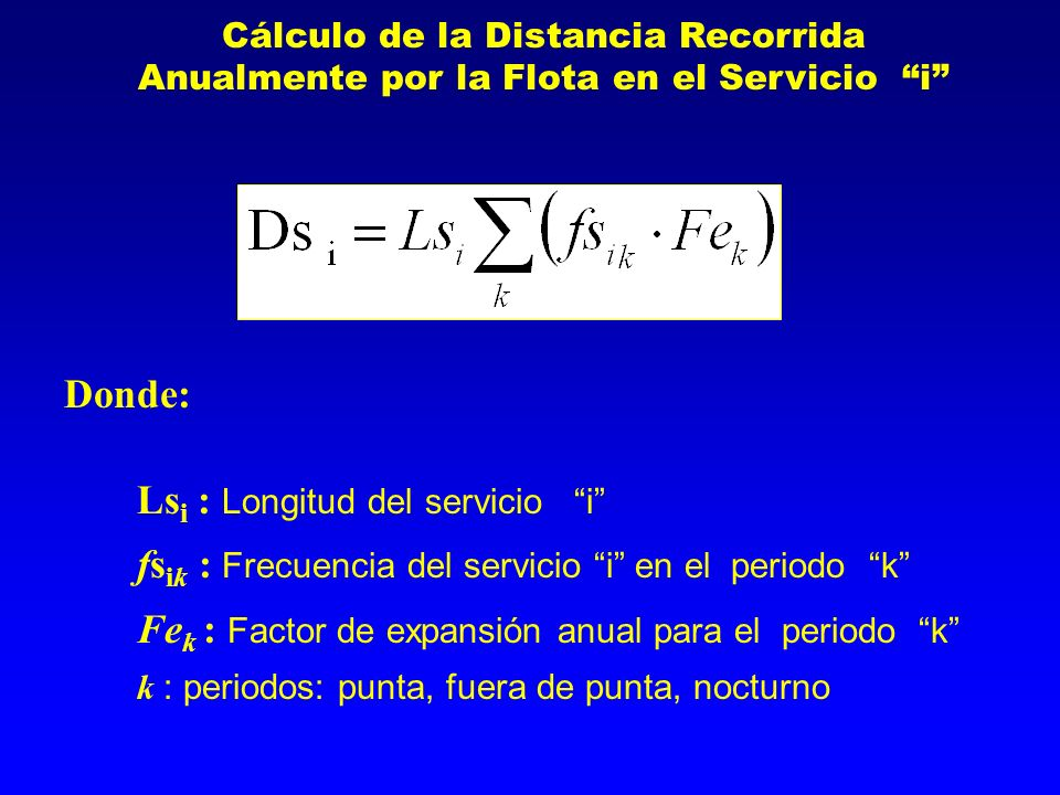 Ls i : Longitud del servicio i fs ik : Frecuencia del servicio i en el periodo k Fe k : Factor de expansión anual para el periodo k k : periodos: punt