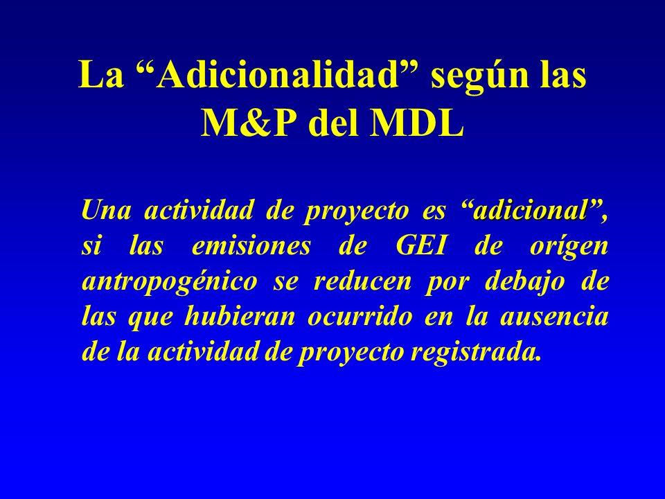 La Adicionalidad según las M&P del MDL adicional Una actividad de proyecto es adicional, si las emisiones de GEI de orígen antropogénico se reducen po
