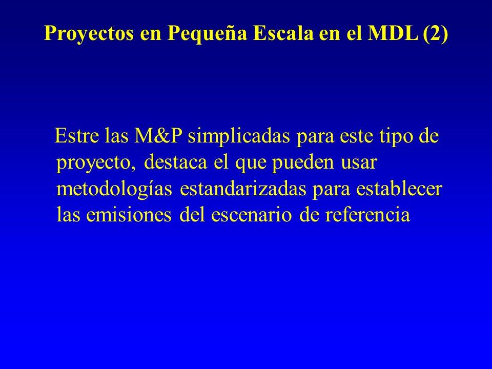 Proyectos en Pequeña Escala en el MDL (2) Estre las M&P simplicadas para este tipo de proyecto, destaca el que pueden usar metodologías estandarizadas para establecer las emisiones del escenario de referencia