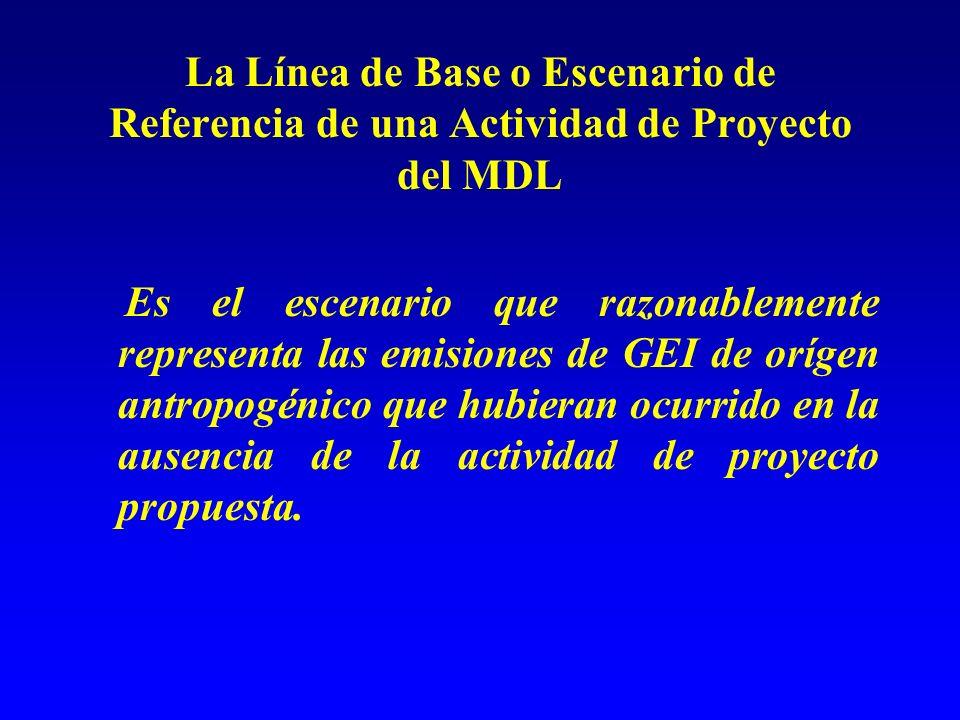 La Línea de Base o Escenario de Referencia de una Actividad de Proyecto del MDL Es el escenario que razonablemente representa las emisiones de GEI de