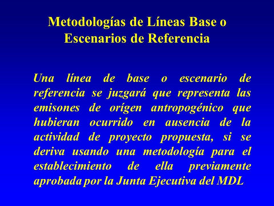 Metodologías de Líneas Base o Escenarios de Referencia Una línea de base o escenario de referencia se juzgará que representa las emisones de orígen antropogénico que hubieran ocurrido en ausencia de la actividad de proyecto propuesta, si se deriva usando una metodología para el establecimiento de ella previamente aprobada por la Junta Ejecutiva del MDL
