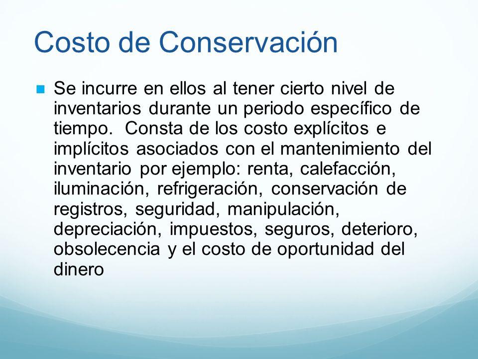 Costo de Conservación Se incurre en ellos al tener cierto nivel de inventarios durante un periodo específico de tiempo. Consta de los costo explícitos