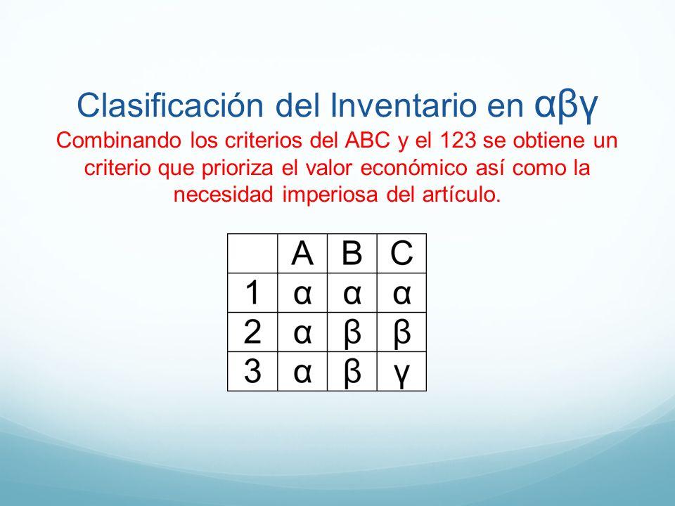 Clasificación del Inventario en αβγ Combinando los criterios del ABC y el 123 se obtiene un criterio que prioriza el valor económico así como la neces