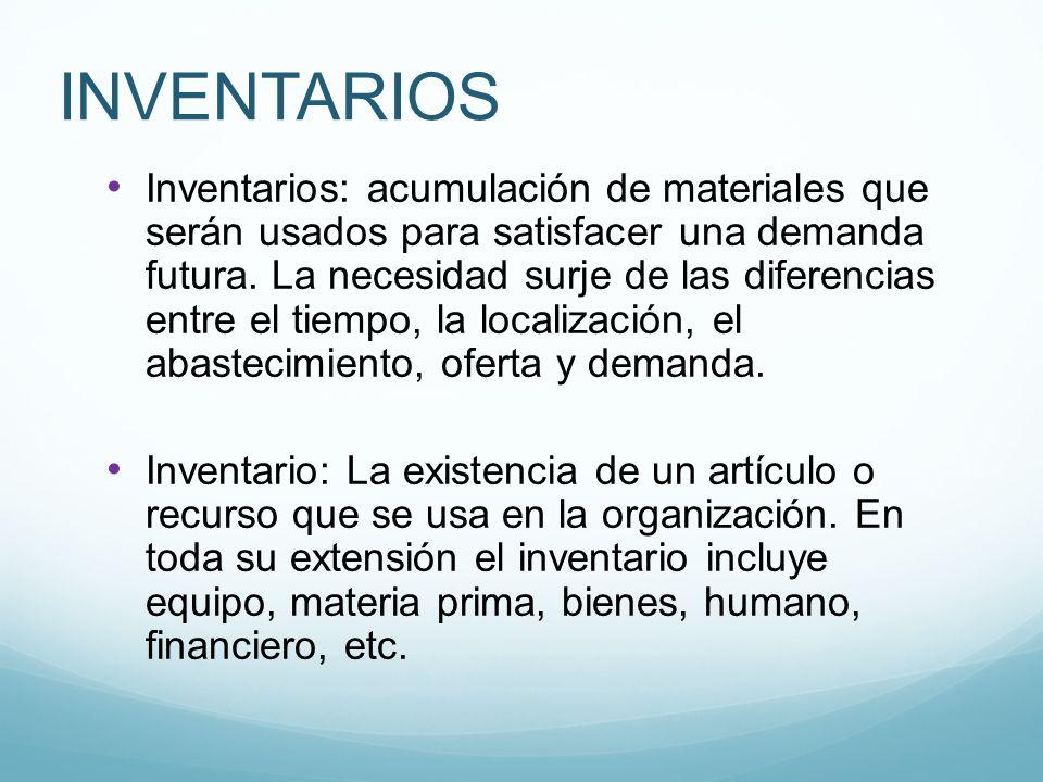 INVENTARIOS Inventarios: acumulación de materiales que serán usados para satisfacer una demanda futura. La necesidad surje de las diferencias entre el