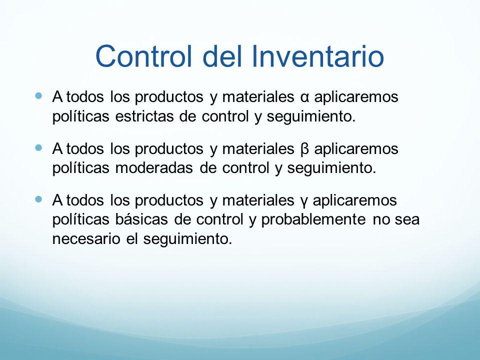 Control del lnventario A todos los productos y materiales α aplicaremos políticas estrictas de control y seguimiento. A todos los productos y material