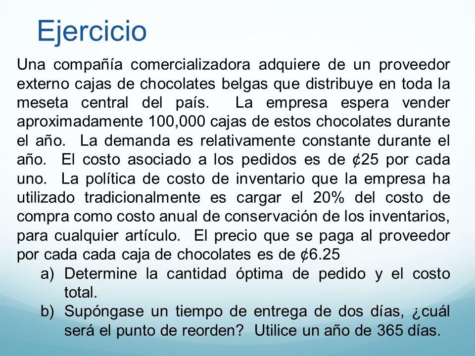 Ejercicio Una compañía comercializadora adquiere de un proveedor externo cajas de chocolates belgas que distribuye en toda la meseta central del país.