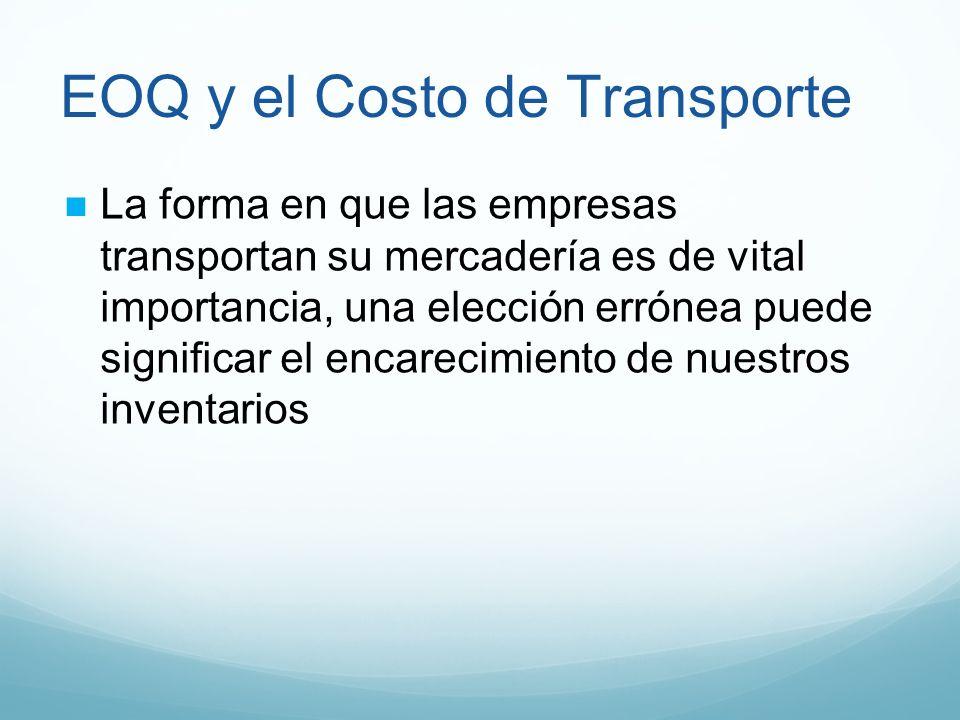EOQ y el Costo de Transporte La forma en que las empresas transportan su mercadería es de vital importancia, una elección errónea puede significar el