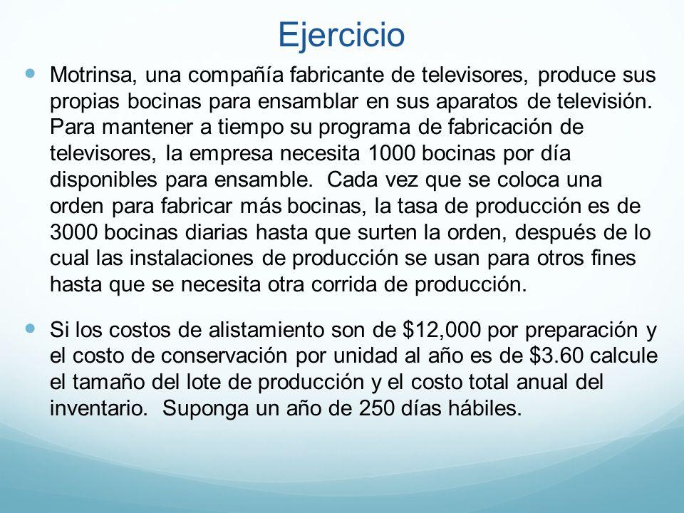 Ejercicio Motrinsa, una compañía fabricante de televisores, produce sus propias bocinas para ensamblar en sus aparatos de televisión. Para mantener a