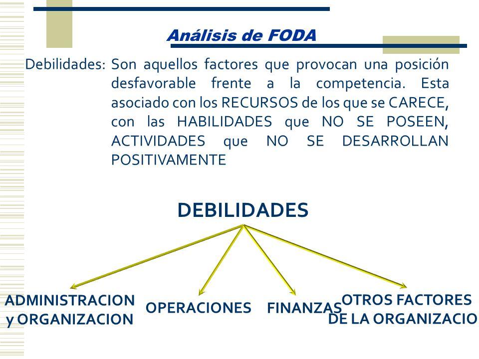 Análisis de FODA Debilidades:Son aquellos factores que provocan una posición desfavorable frente a la competencia. Esta asociado con los RECURSOS de l