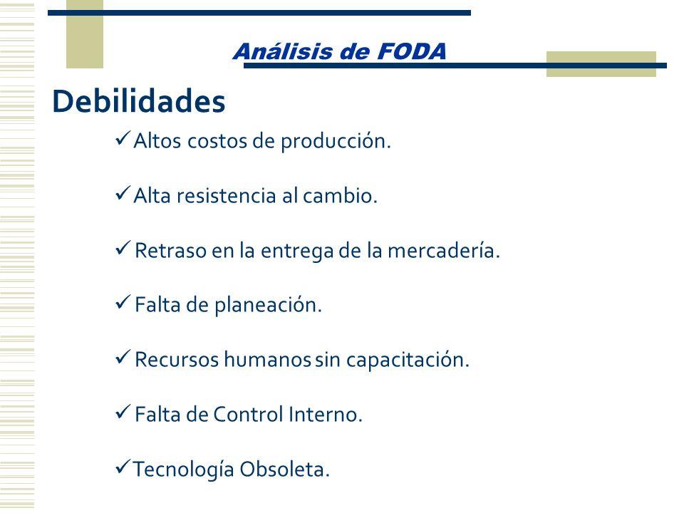 Análisis de FODA Debilidades Altos costos de producción. Alta resistencia al cambio. Retraso en la entrega de la mercadería. Falta de planeación. Recu