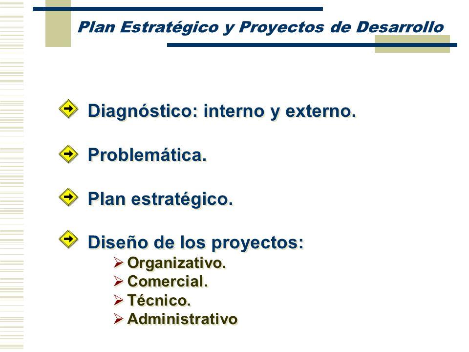 Diagnóstico: interno y externo. Problemática. Plan estratégico. Diseño de los proyectos: Organizativo. Comercial. Técnico. Administrativo Diagnóstico: