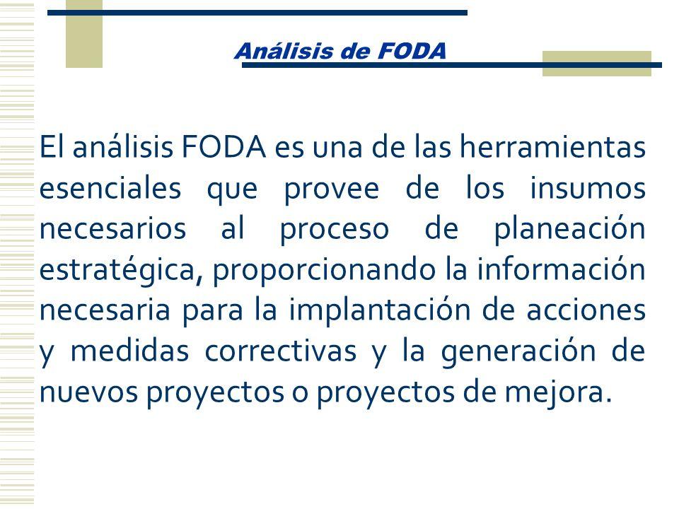 Análisis de FODA El análisis FODA es una de las herramientas esenciales que provee de los insumos necesarios al proceso de planeación estratégica, pro