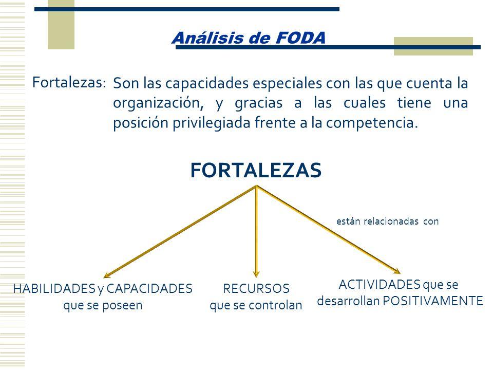 Análisis de FODA Fortalezas: Son las capacidades especiales con las que cuenta la organización, y gracias a las cuales tiene una posición privilegiada